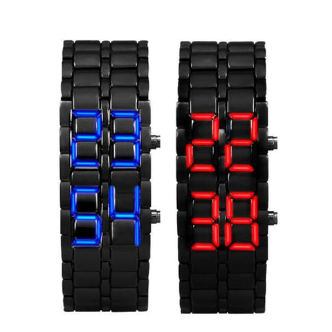 cool black color metal band led lights wrist watch