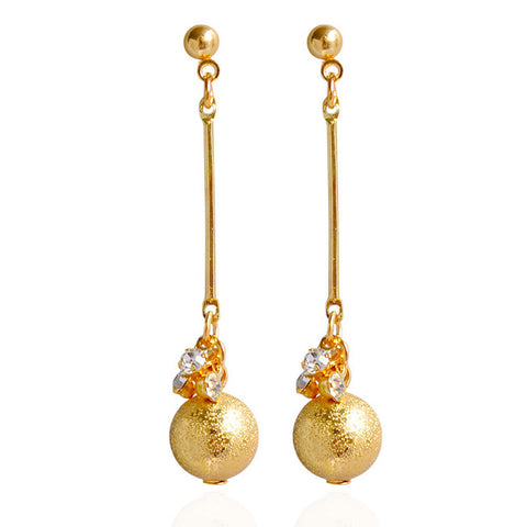 elegant ball with zircon long chain tassel earrings for women