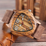 trendy triangle shape bamboo wood quartz watch for men