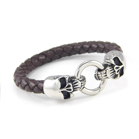 stainless steel skull artificial braided genuine leather bracelet