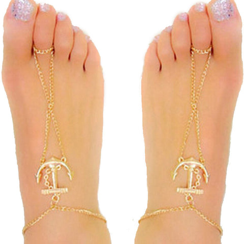 trendy anchor shape toe anklet for women