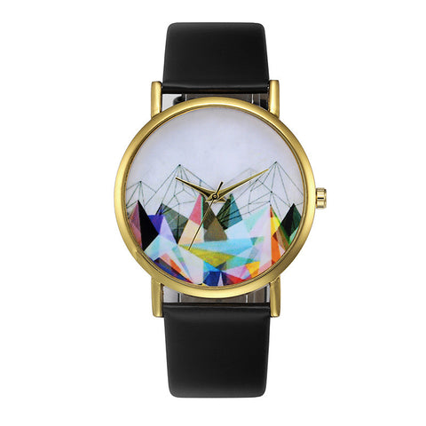 trendy design leather band analog quartz wrist watch for women