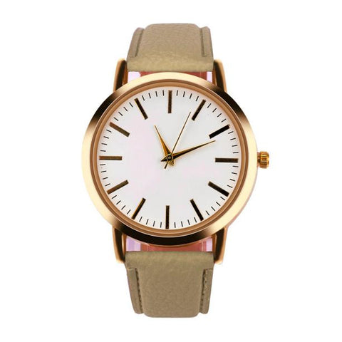 simple pattern design leather band quartz watch for women