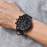 sport style stainless steel leather band quartz watch for men