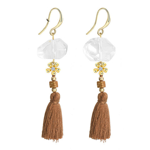 trendy natural stone golden flower tassel drop earrings for women