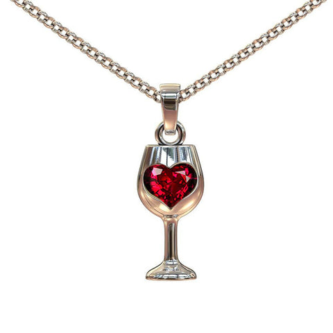 stainless steel red wine glass pendant necklace for women