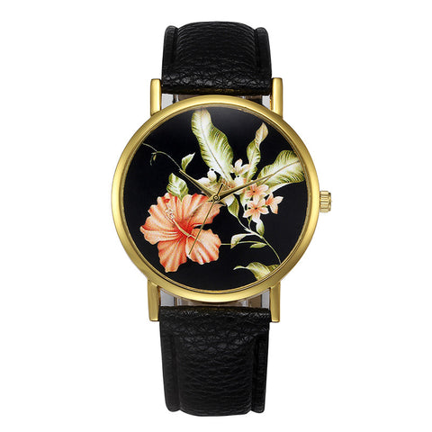 romantic flower pattern leather band analog watch for women