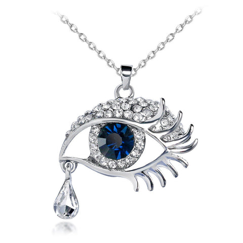 luxury crystal eye & tear pendant chain necklace for women