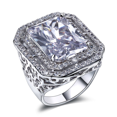 luxury big square cubic zirconia ring for women