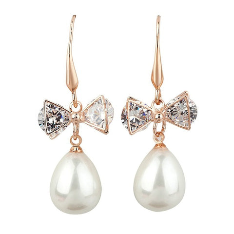 rose gold color bow rhinestone & simulated pear earrings for women