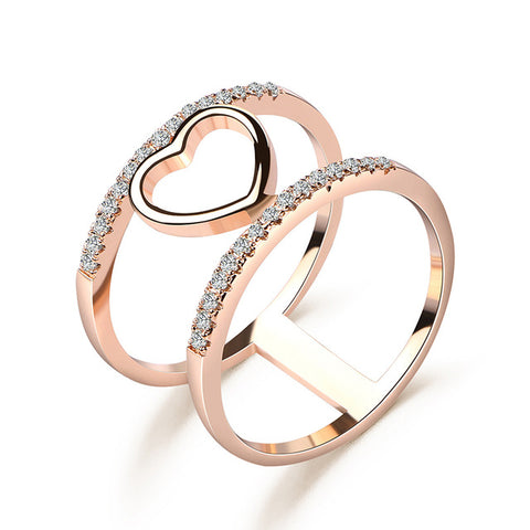 trendy rose gold color geometric cubic zirconia ring for women