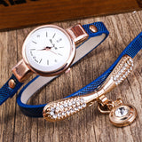 trendy leather band rhinestone quartz wrist watch for women