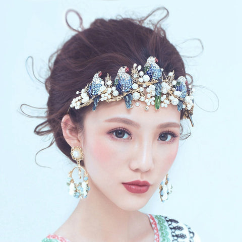 luxury colorful crystal birds on a branch design hairband tiara