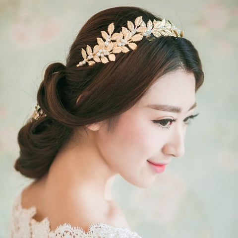 trendy golden olive leaves with pearl vine hair band tiara jewelry