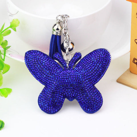 romantic rhinestone butterfly pu leather key chain for women