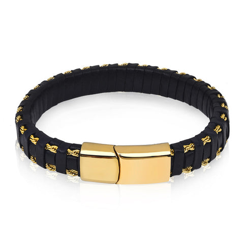 punk steel wire braid rope chain wristband leather bracelet