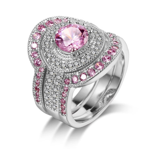 luxury silver plated pink color cz crystal ring set for women