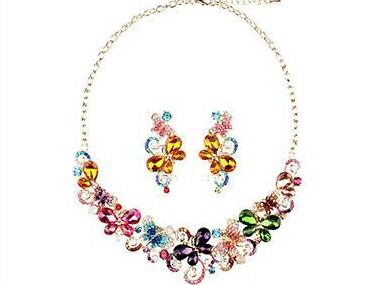 luxury crystal butterfly & flower statement jewelry set for women