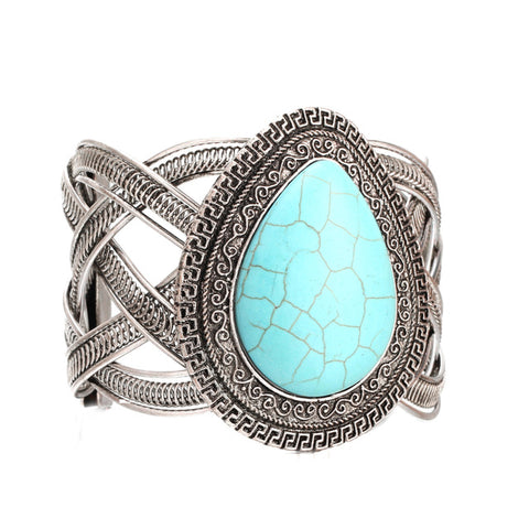 ethnic teardrop shaped natural stone bracelet for women