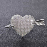 luxury cubic zircon arrow & heart brooch pin for women