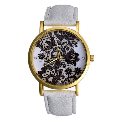 trendy lace printed faux leather quartz analog watch for women