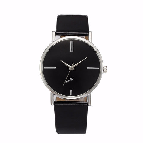 elegant dial design leather band quartz analog watch for women