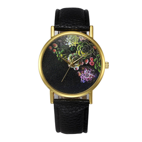 trendy flower pattern leather band quartz analog watch for women