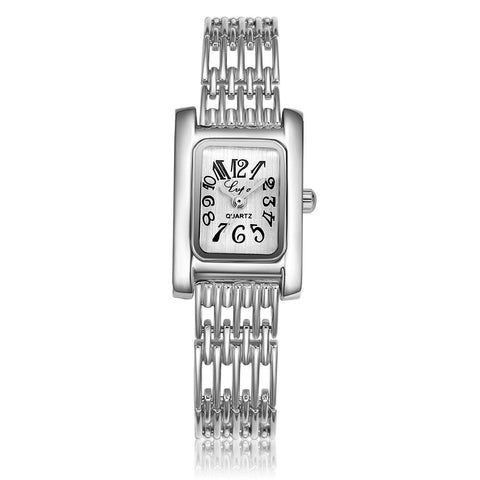 classic square dial stainless steel hollow band quartz wrist watch