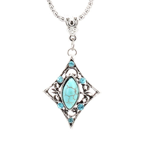 vintage silver color green stone pendant necklace for women