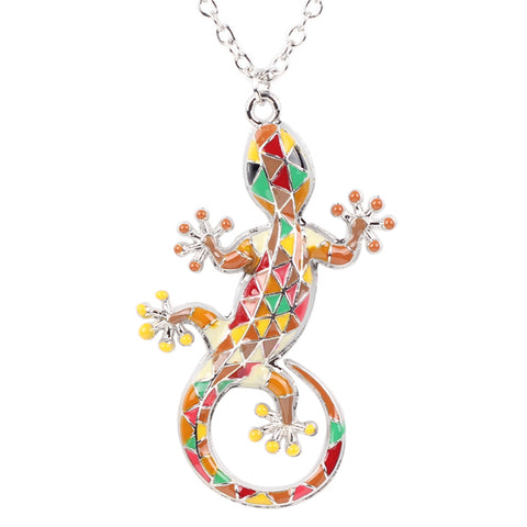 colorful enamel gecko lizard pendant necklace for women