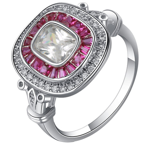 luxury silver color big square pink & white cz ring for women