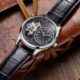 elegant multi time zone leather band quartz watch for men