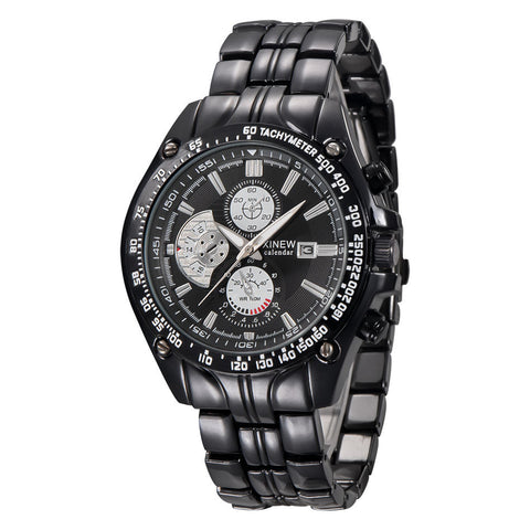 sport stainless steel analog quartz wrist watch for men