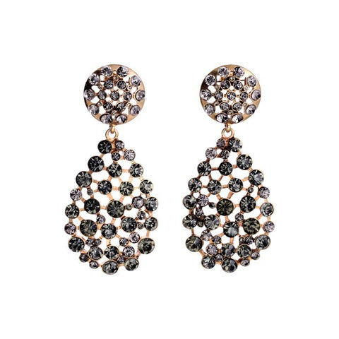 luxury big crystal water drop earrings for women