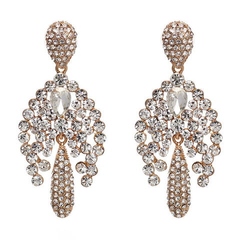 luxury big crystal statement stud earrings for women
