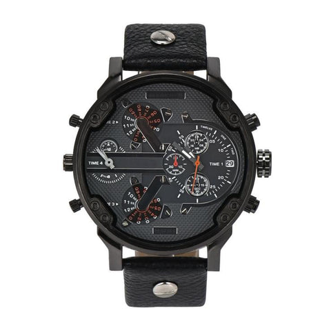 sport style chronograph dial leather band quartz watch for men