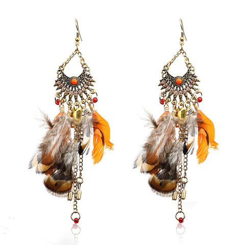 ethnic handmade feather tassel long drop earrings for women