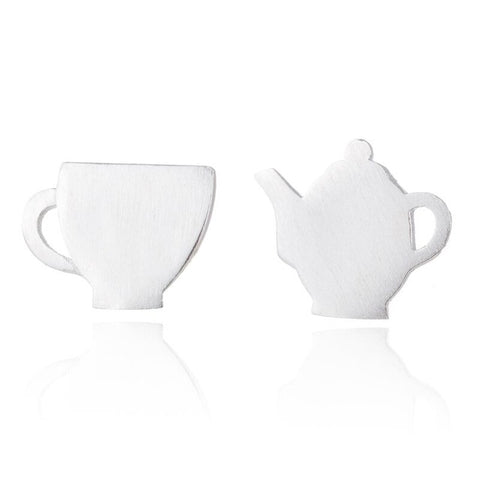 minimalist cute tiny tea pot and tea cup stud earrings for women