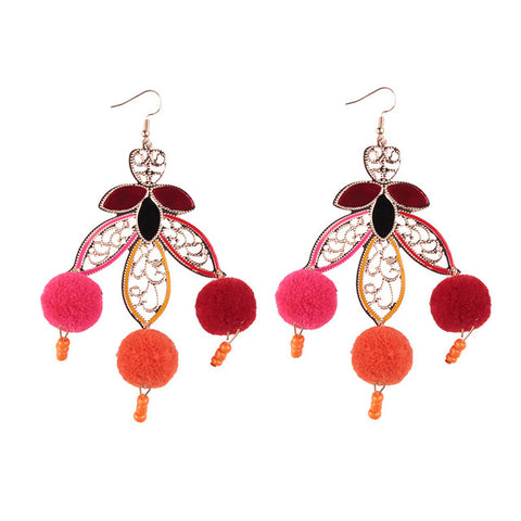 cute cotton leaf with ball tassel drop earrings for women