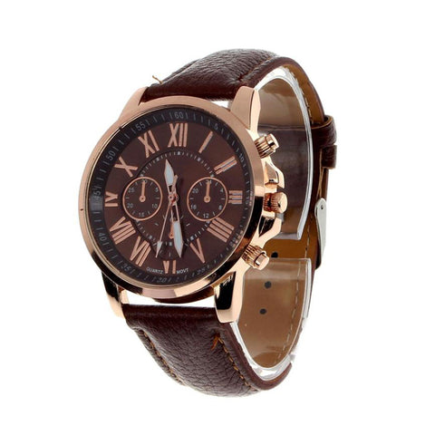 elegant roman numerals faux leather band quartz watch