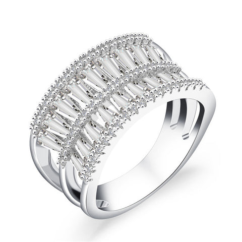 elegant silvery titanium steel zircon crystal hollow ring for women