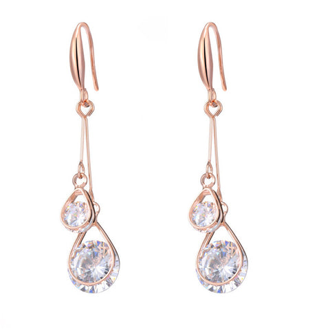 elegant rose gold cubic zircon hanging earrings for women