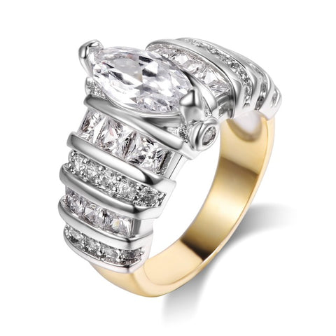 luxury gold & silver color cubic zirconia crystal ring for women