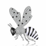 trendy cubic zircon crystal bee brooch pin for women