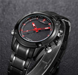 sport style dual display stainless steel watch for men