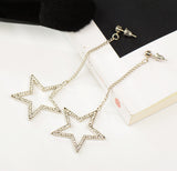 trendy crystal star shape long drop earrings for women