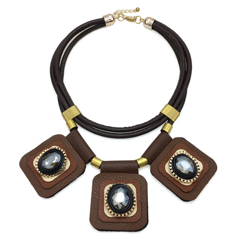 ethnic multilayer leather choker crystal necklace for women