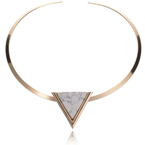 gold color short choker necklace with triangle faux stone
