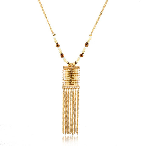 bohemian natural stone beads & chain tassel pendant necklace