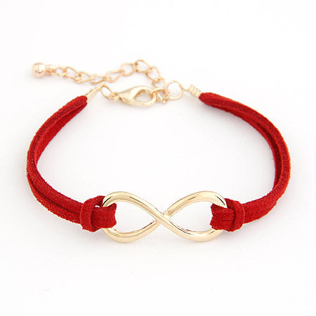 trendy leather rope infinity charm bracelet & bangle for women